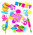 happy holi set of elements buckets with paint vector image