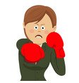 business woman punching wearing boxing gloves vector image
