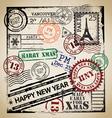 Christmas stamp set vector image
