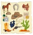Elements of Wild West Cactus Revolver Hat vector image