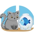 Gray Cat and Blue Fish vector image