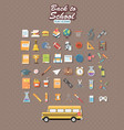 back to school set of flat icon vector image