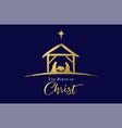birth christ jesus in manger star golden vector image vector image