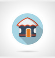 blue beach hut flat round icon vector image vector image