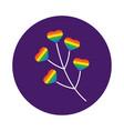 branch with hearts gay pride block style vector image vector image