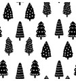 christmas tree doodle seamless pattern winter vector image vector image
