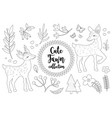 cute little deer set coloring book page for kids vector image vector image