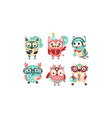 cute pink and blue owls with accessories vector image vector image