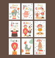 funny circus posters set vector image