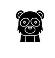 funny panda black icon sign on isolated vector image