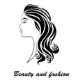 girl with haircut drawing black and white beauty vector image vector image