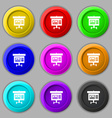Graph icon sign symbol on nine round colourful vector image vector image