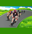 group of cyclists racing vector image