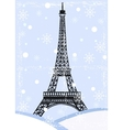 grunge eiffel tower with snow vector image vector image