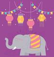 happy diwali festival hanging lanterns pennants vector image vector image