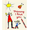 Happy Mothers Day child drawing vector image