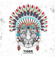 hipster tiger with indian feather headdress vector image