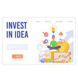 invest in idea landing page template vector image vector image