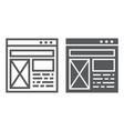 Layout line and glyph icon website and design