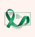 liver cancer awareness month banner with emerald vector image vector image