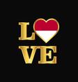 love typography indonesia flag design gold