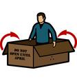 Man in box vector image vector image