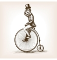 Man on retro vintage old bicycle sketch vector image vector image