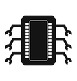 Microchip black simple icon vector image