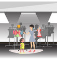 mommy and little daughter shopping together in vector image