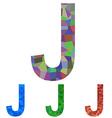 Mosaic font design - letter J vector image vector image