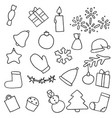 new year icons set christmas coloring stickers vector image