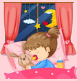 night scene with girl sleeping in bed vector image vector image