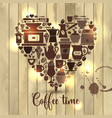 on wooden of heart with coffee vector image