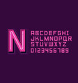pink neon light alphabet font vector image vector image