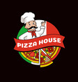 pizza house promotional logo with cook in hat vector image vector image