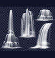 realistic waterfalls on transparent background set vector image vector image