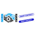 rectangle collage smart contract handshake with vector image vector image
