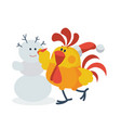 rooster with snowman flat vector image