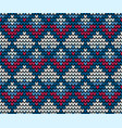 seamless squares blue knitting background vector image