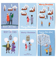 set christmas market cards posters flyers vector image