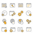 settings calendar flat line icon set vector image