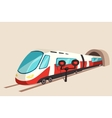 Sleek train movement from tunnel and flash light vector image