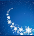 snowflekes trail snowfall on blue background vector image