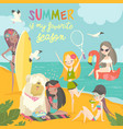 summer travel set girls in a bikini traveling vector image
