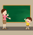 teacher woman and studen boy standing in front of vector image vector image