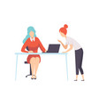 two businesswoman working in office office vector image vector image