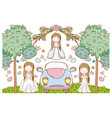 wedding women with car and flowers plants leaves vector image vector image