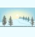 winter landscape sun over snowy hill road vector image vector image