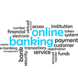 word cloud online banking vector image