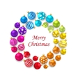 Set of Colorful Christmas Glass Balls Round Frame vector image